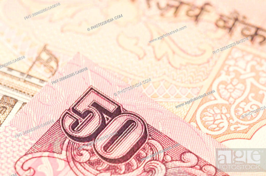 Stock Photo: Close-up of Indian fifty rupee banknotes.