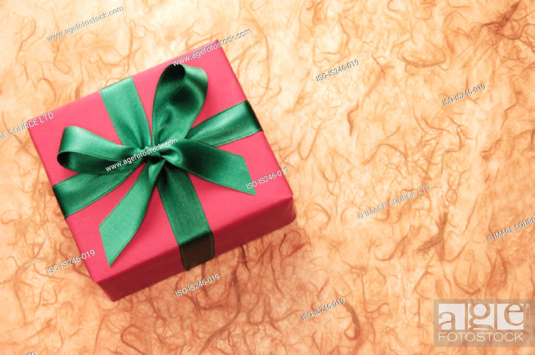Stock Photo: Gift-wrapped box.