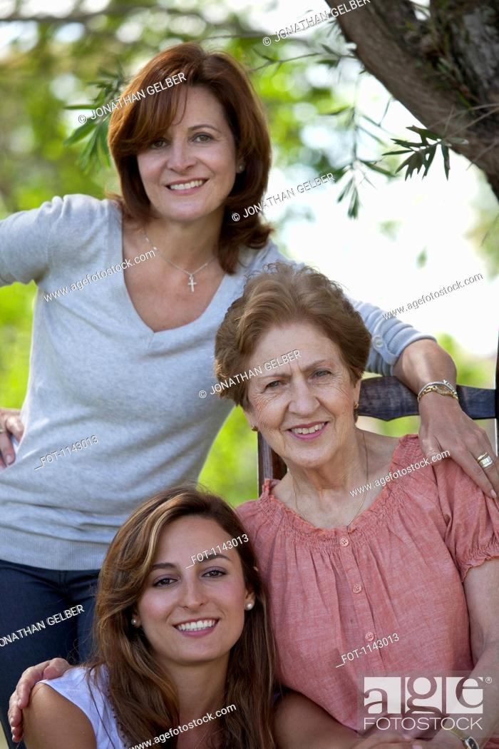 Stock Photo: Portrait of a woman with her daughter and granddaughter.
