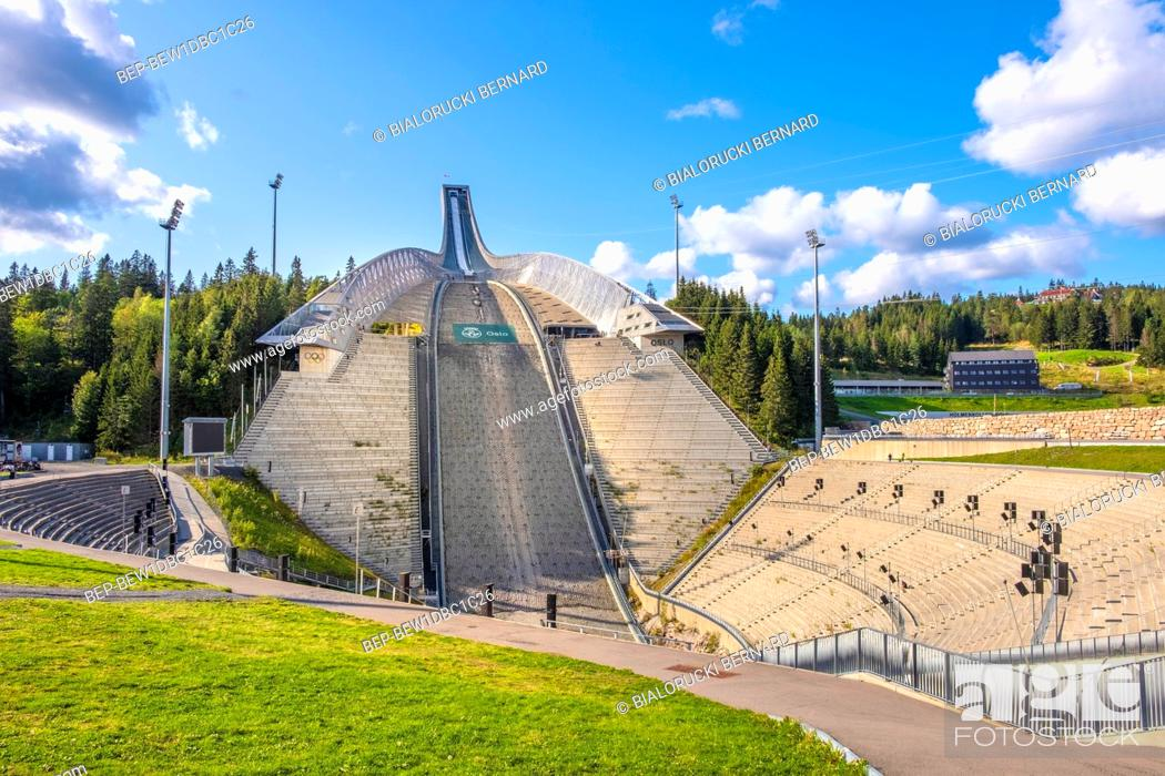 Stock Photo: Oslo, Ostlandet / Norway - 2019/09/02: Winter sports facilities of the Holmenkollen National Arena complex - Holmenkollbakken - an Olympic skiing facility after.