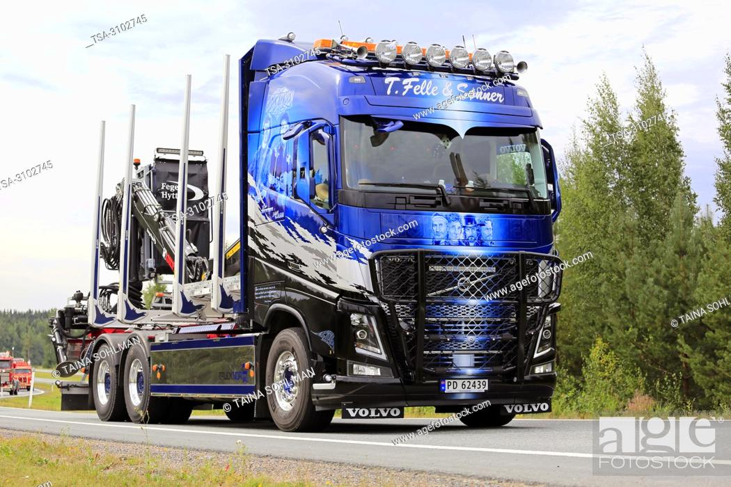 Stock Photo: LEMPAALA, FINLAND - AUGUST 9, 2018: Volvo FH16 timber truck of T. Felle & Sonner Transport As from Norway in truck convoy to Power Truck Show 2018.