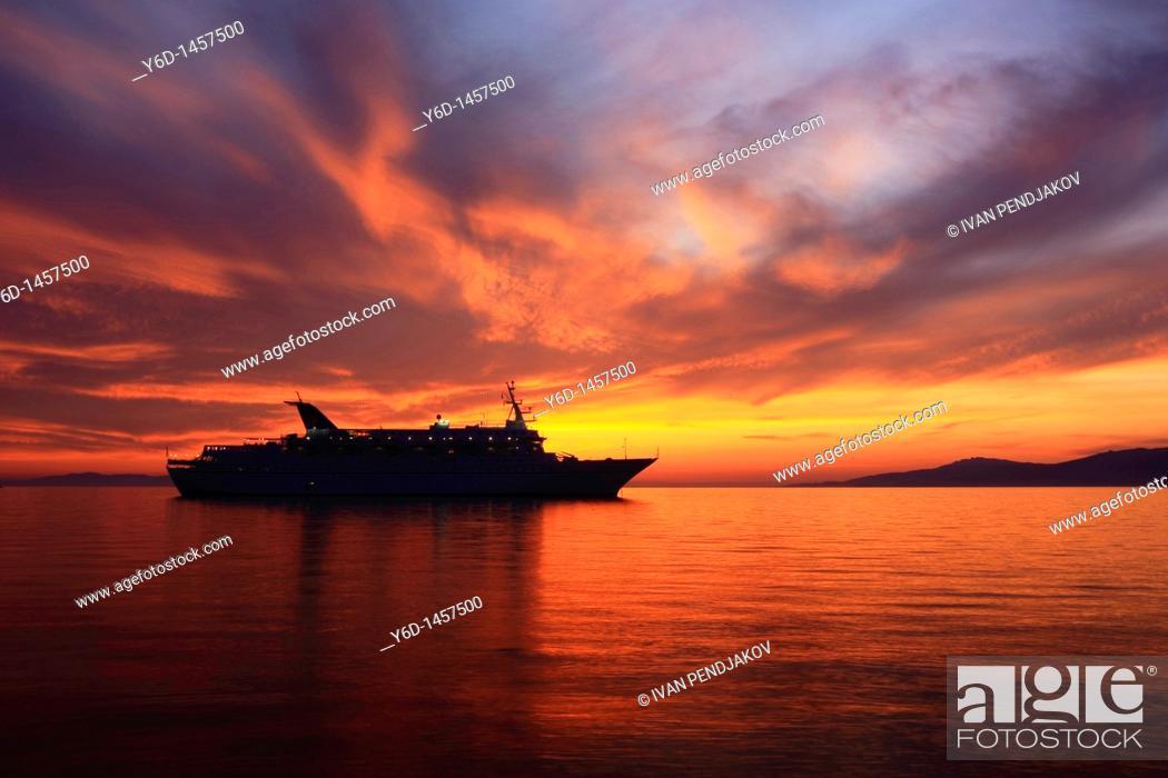 Stock Photo: Ship at Mykonos Bay, Mykonos, Cyclades, Greece.
