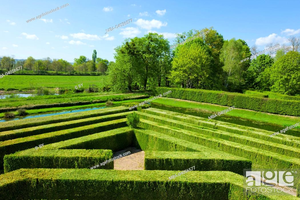 Stock Photo: Chateau Cormatin, castle grounds with labyrinth, France.
