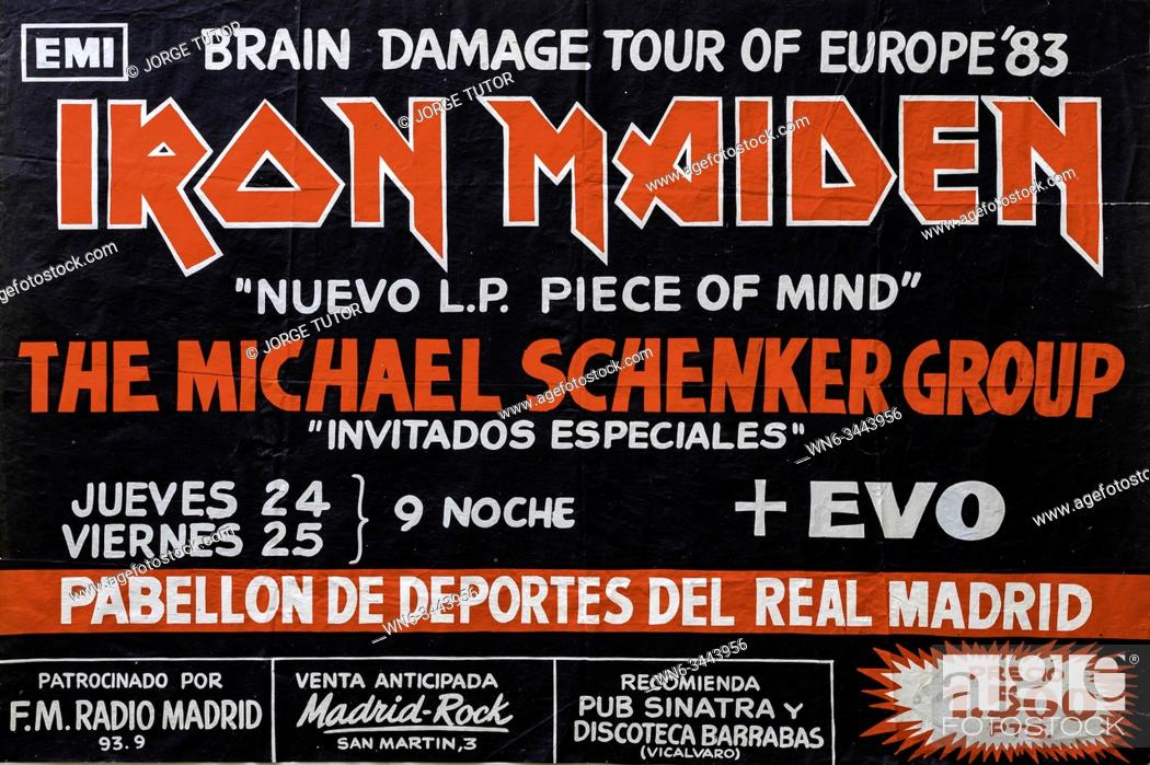 Stock Photo: Iron Maiden, Piece of Mind promo album and tour 1983 Madrid, Musical concert poster.