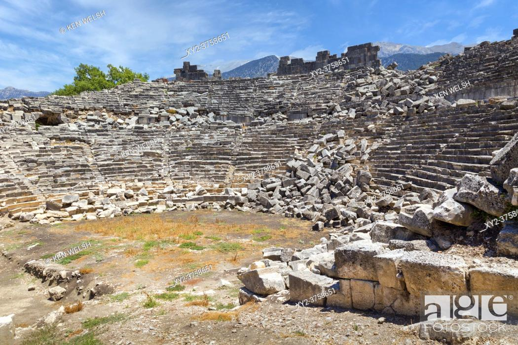Stock Photo: Ruins of the ancient Lycian city of Tlos, Antalya Province, Turkey. The theatre dating from the Roman era. This picture shows what an ancient ruin can look like.