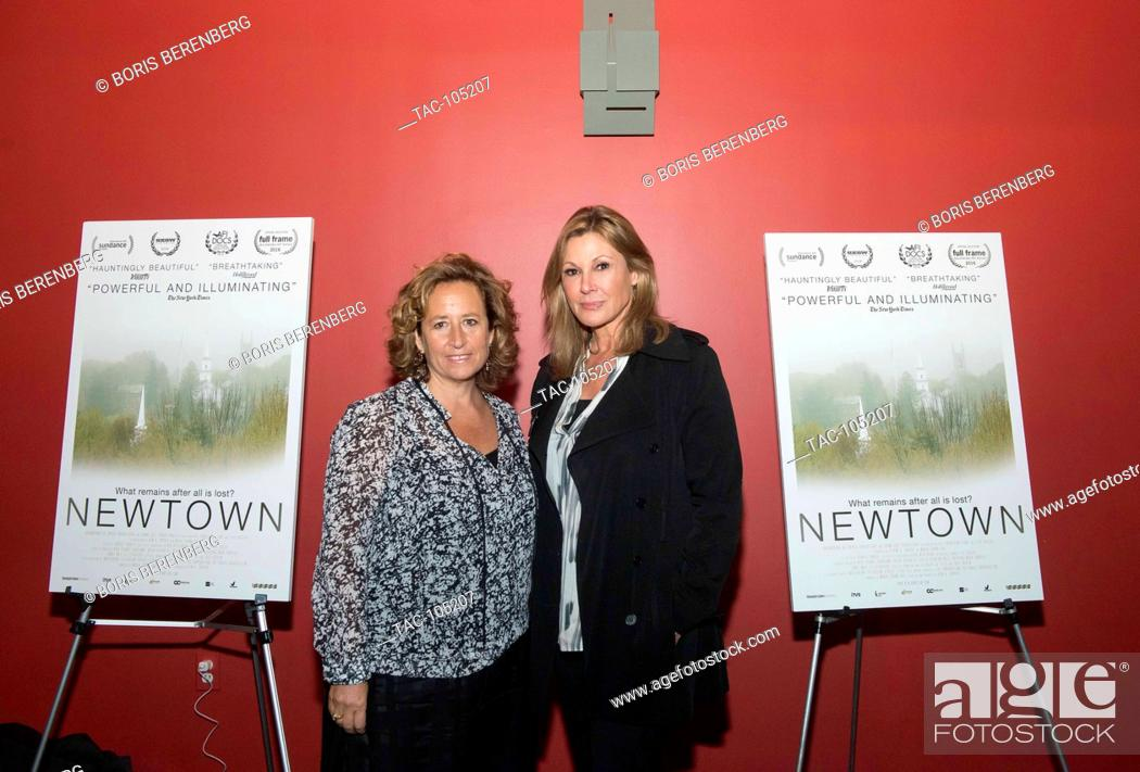 Stock Photo: Kim A. Snyder and Maria Cuomo Cole at the premier of Newtown at the Landmark Sunshine Theater on October 7, 2016 in New York, New York.