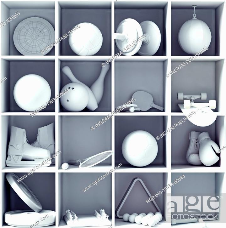 Stock Photo: sport equipment on the shelves. creative concept.