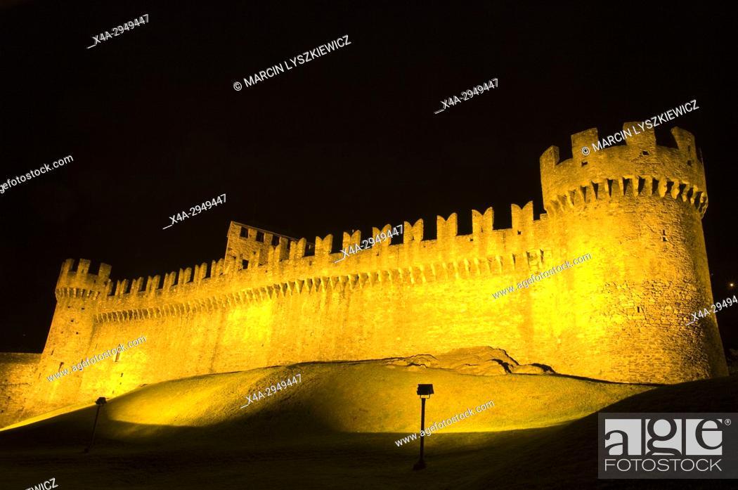 Stock Photo: Motebello Castle in Bellinzona by Night.