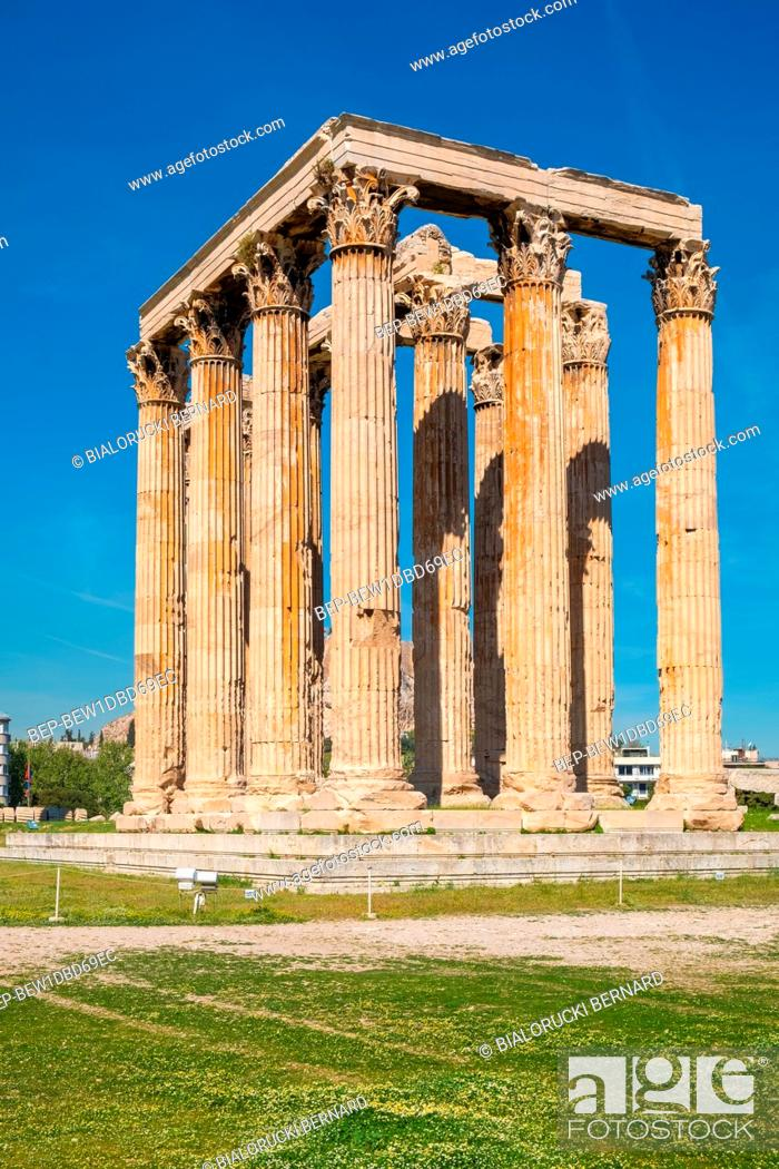 Stock Photo: Athens, Attica / Greece - 2018/04/03: Panoramic view of Temple of Olympian Zeus, known as Olympieion at Leof Andrea Siggrou street in ancient city center old.