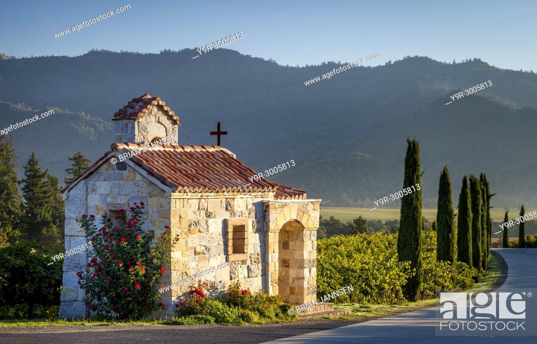 Stock Photo: Prayer chapel at Castello di Amorosa vineyards in Napa Valley, California, USA.
