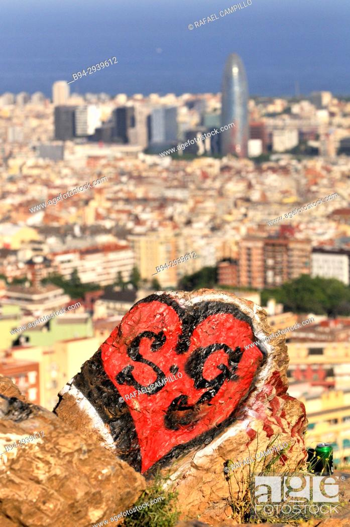Stock Photo: General view of Barcelona from Turó del Carmel with the Agbar tower. Catalonia. Spain.