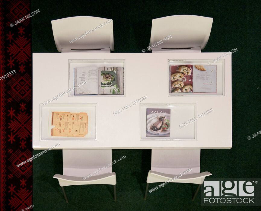 Stock Photo: Dining Table With Cookbooks.