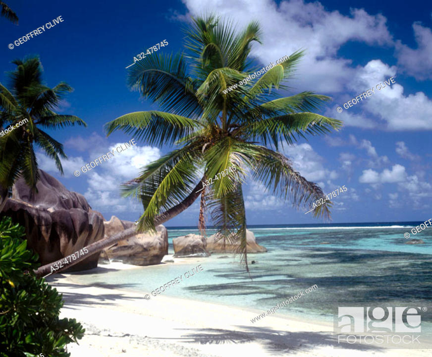 Stock Photo: Reunion beach, La Digue island, Seychelles.