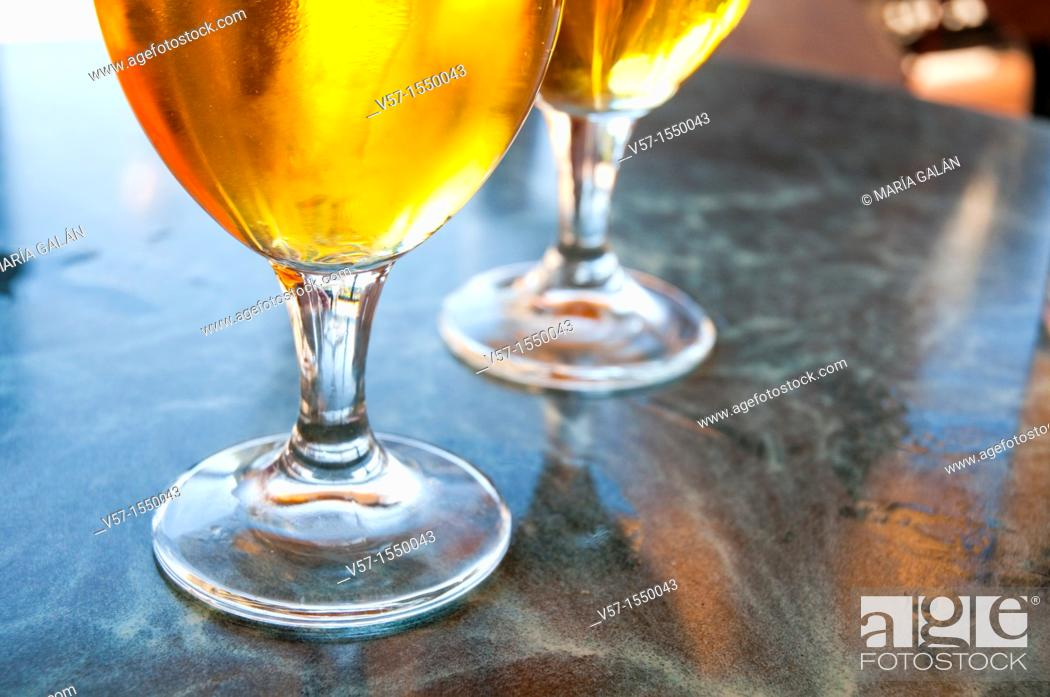 Stock Photo: Two glasses of beer, close view.