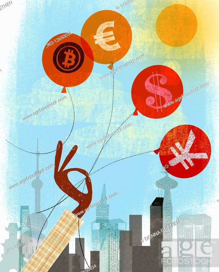 Imagen: Hand holding on to euro, dollar and yen balloons rather than bitcoin.