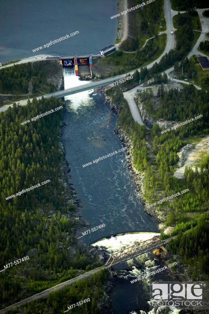 Stock Photo: Water power station, aerial view. Jokkmokk. Lappland. Sweden.