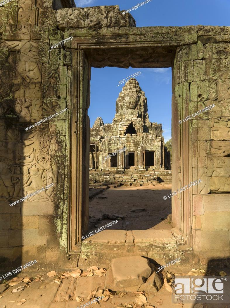 Stock Photo: Tower at The Bayon. Angkor Thom. Siem Reap. Cambodia.