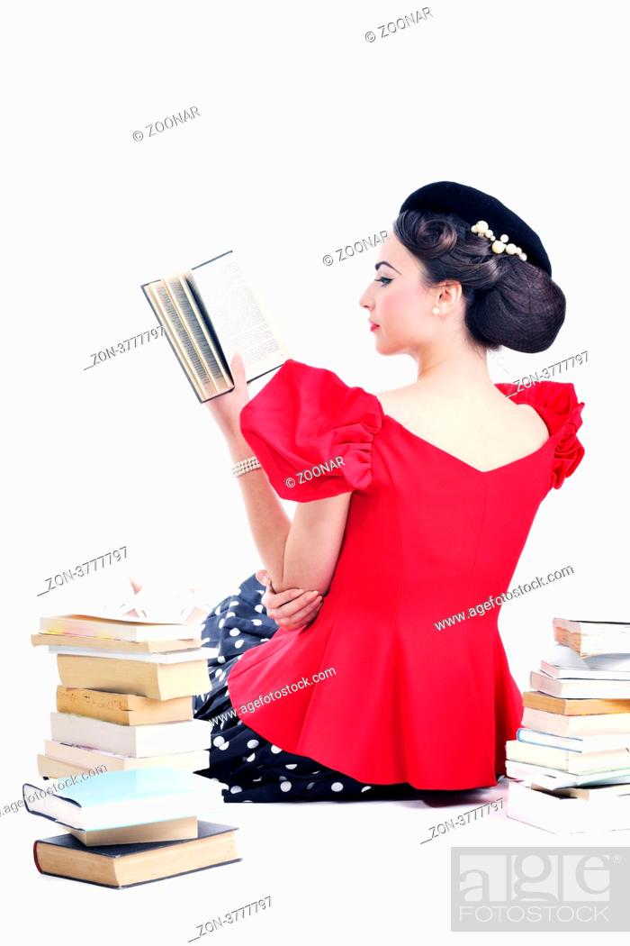 Young Student Woman In Retro Clothes Read Book And Get