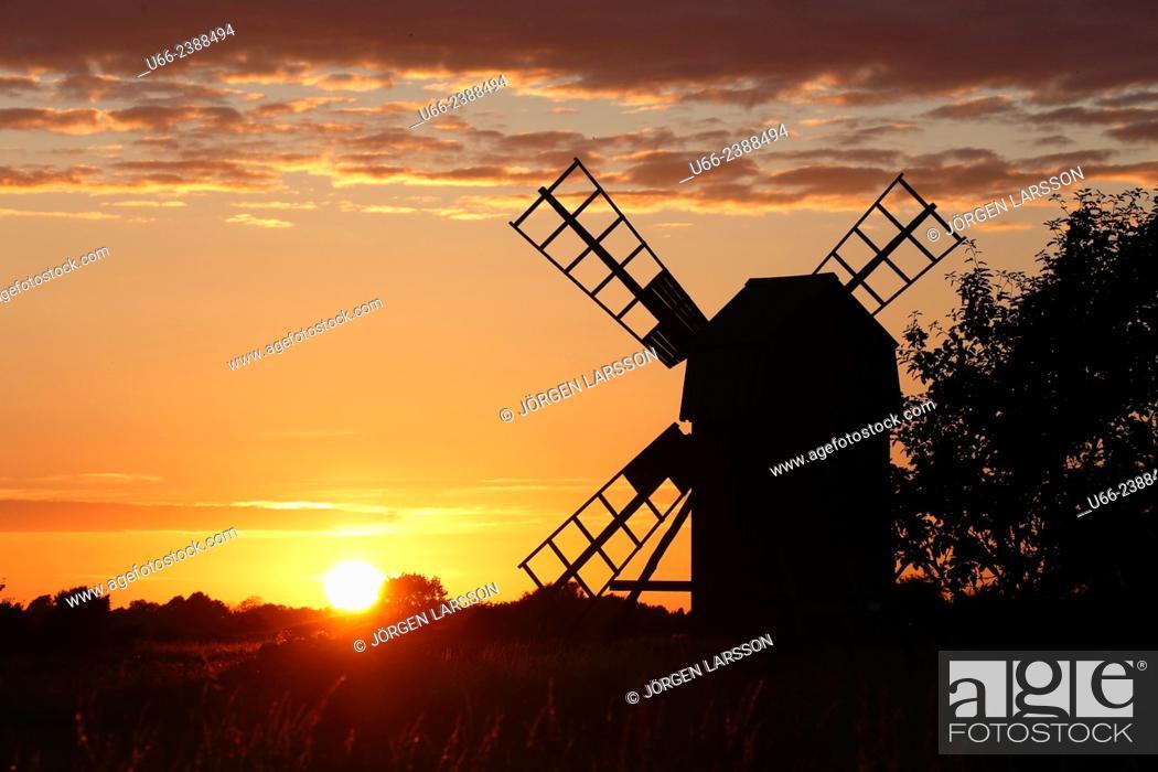 Stock Photo: Windmill, Öland, Sweden.