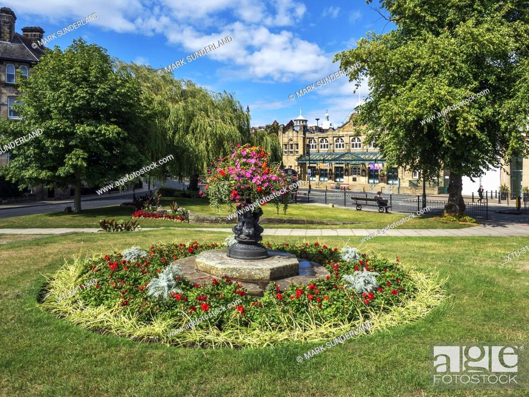 Stock Photo: The Royal Hall from Crescent Gardens in Summer Harrogate North Yorkshire England.
