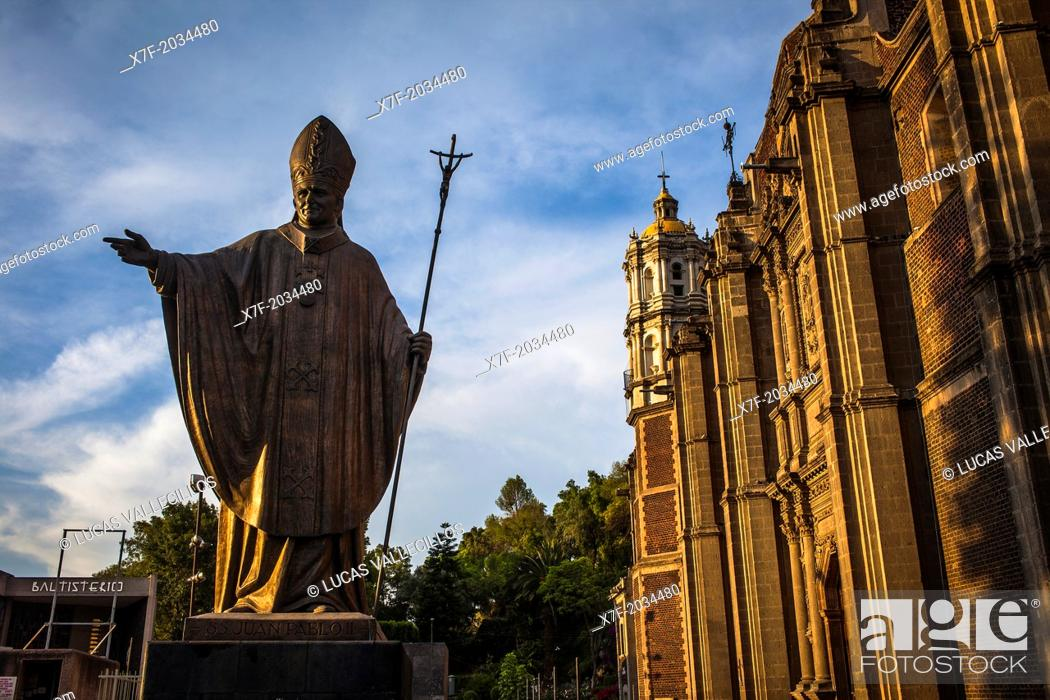 Stock Photo: Statue of Pope John Paul II and Old Basilica Our Lady of Guadalupe, Mexico City, Mexico.