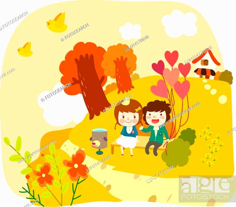 Stock Photo: tree, lover, outdoor, date, couple, bench.