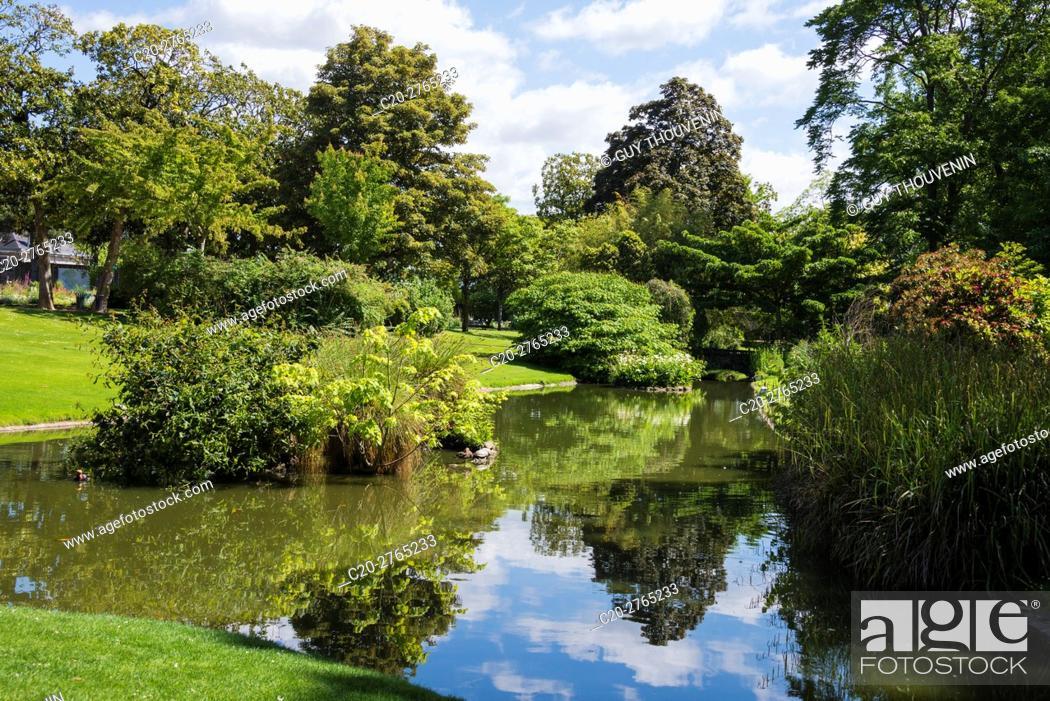 Stock Photo: Water garden, Jardins des Plantes, Nantes, Loire Atlantique, France.