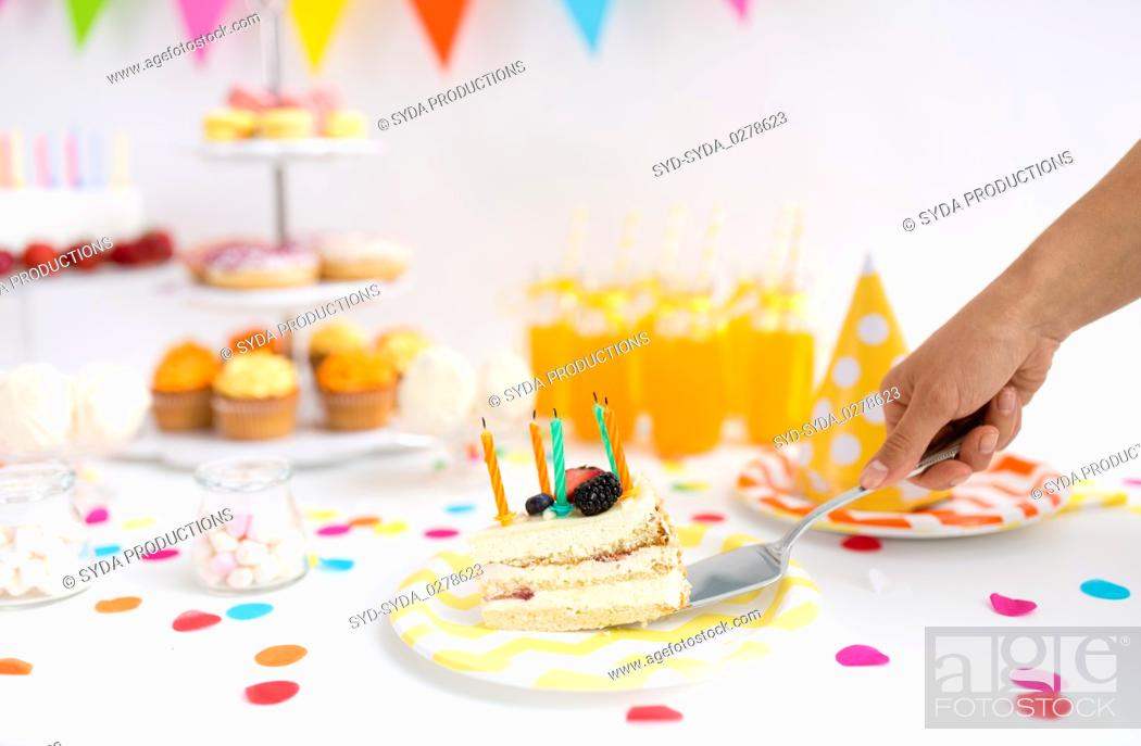 Superb Hand Putting Piece Of Birthday Cake On Plate Stock Photo Picture Personalised Birthday Cards Petedlily Jamesorg