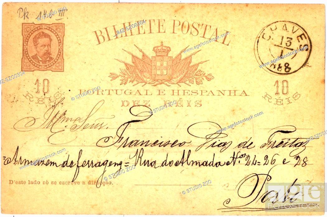 Stock Photo: Vintage postcard with script writing, Bilhete postal.
