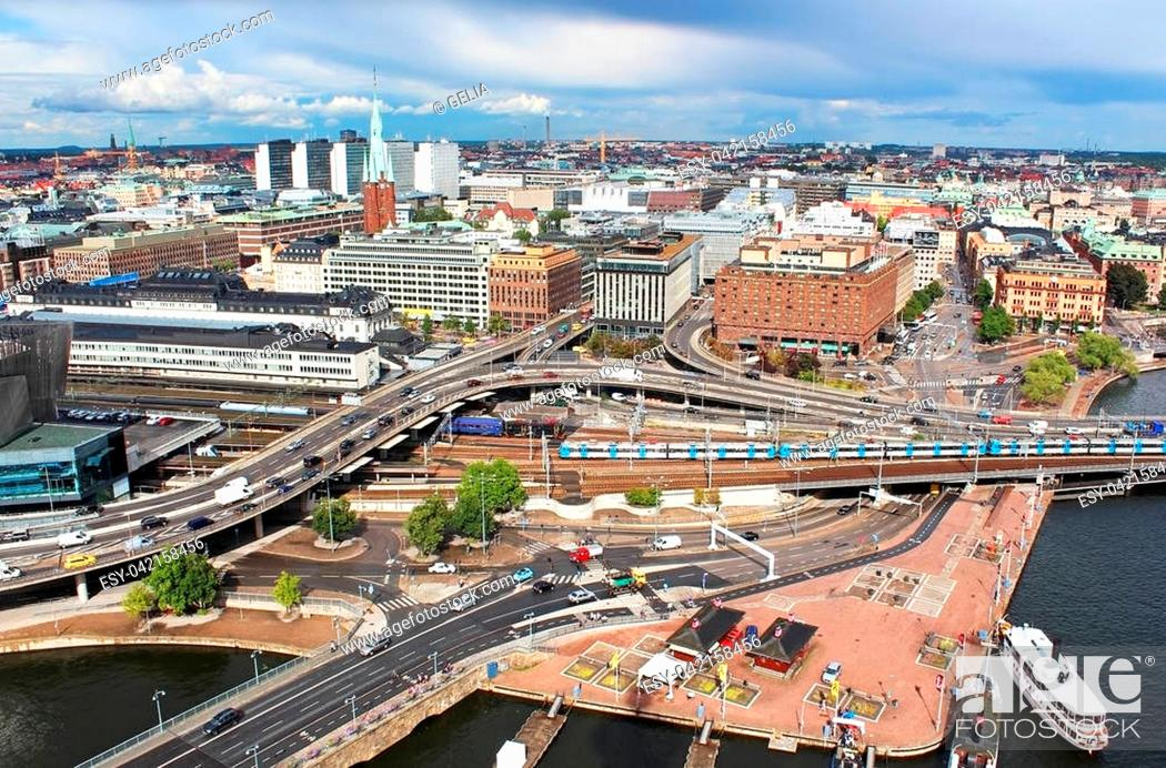 Stock Photo: View of Norrmalm area from City Hall, Stockholm, Sweden.