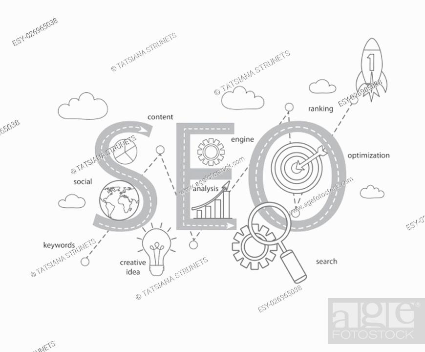 Stock Photo: Concept of SEO word combined from modern thin line elements and icons which symbolized a success internet searching optimization process.