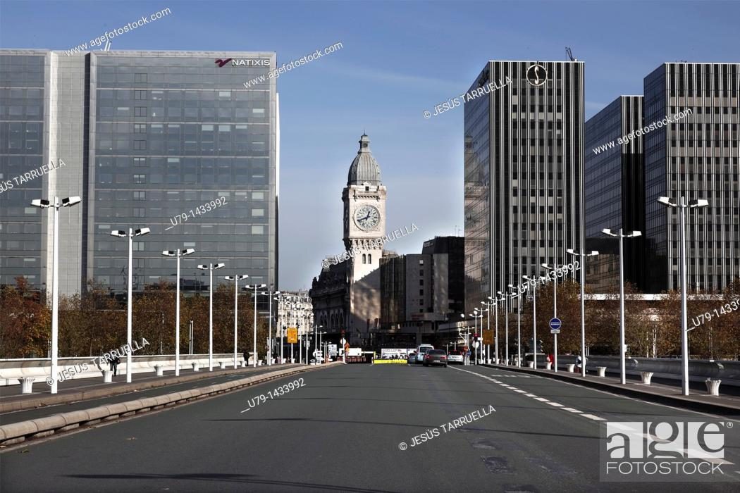 Stock Photo: Cityscape with the Tower of the Gare de Lyon, Paris, France, Europe.
