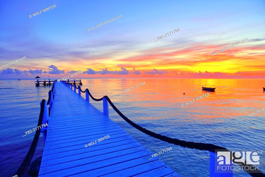 Stock Photo: Pier at sunrise at Odyssee Resort and Spa at Zarzis, Tunisia, Tunisia.