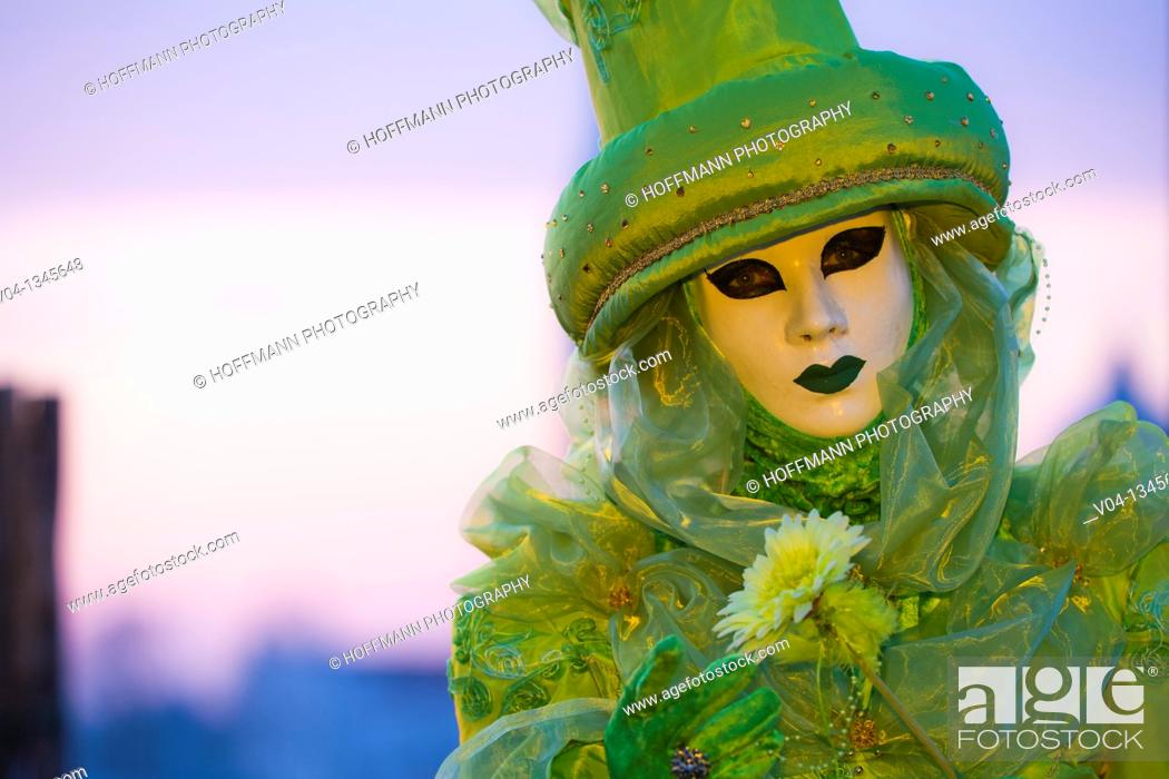 Stock Photo: A masked woman at the carnival in Venice, Italy, Europe.
