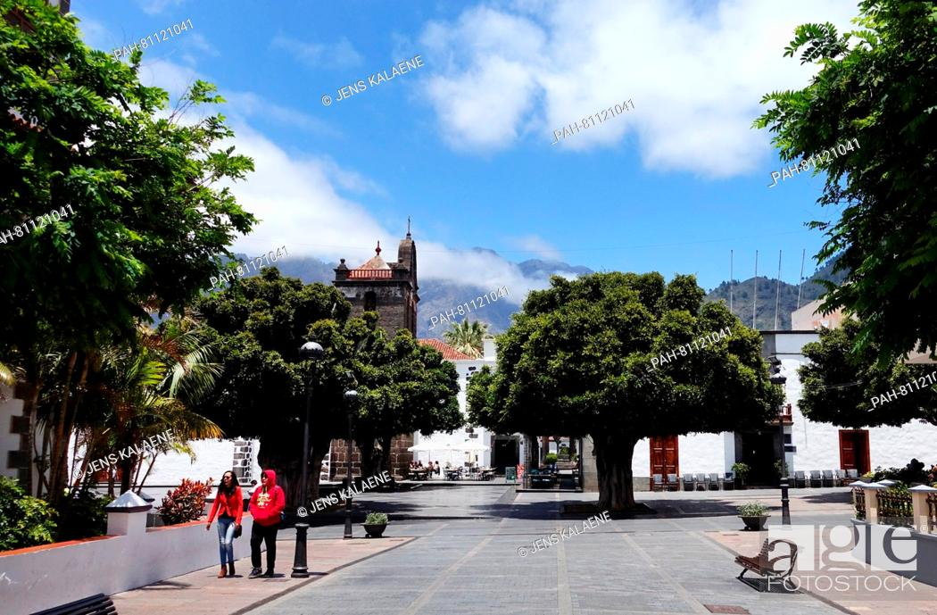 Stock Photo: A pictutre dated 19 May 2016 shows the pedestrian area with the church of Nestra Senora de Los Remedios in Los Llanos de Aridane on the Canary island of La.