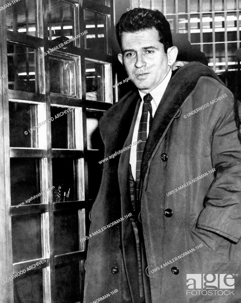 Stock Photo: New York, New York: November, 1960.Author Norman Mailer leaving jail after being arrested.