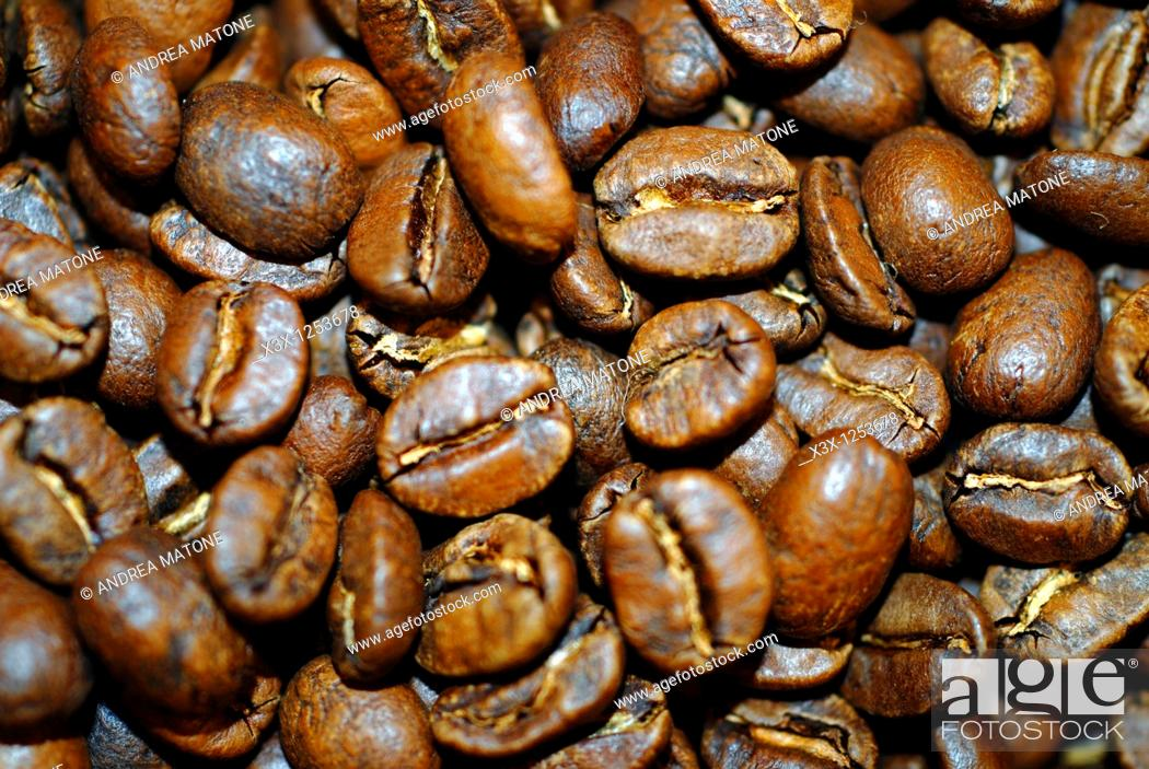 Stock Photo: Coffee beans close up.