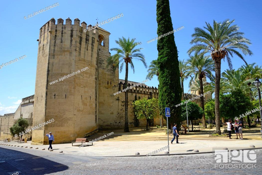 Stock Photo: Exterior and facade of the Alcazar of Cordoba, Andalucía, Spain.