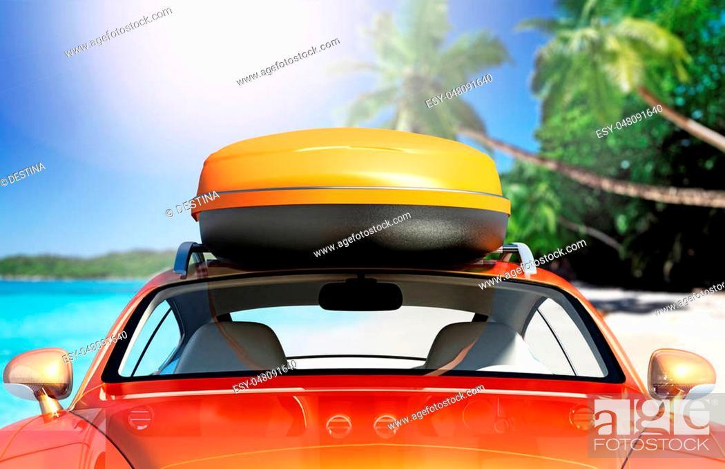 Stock Photo: Car with roof rack near seashore. 3D illustration.