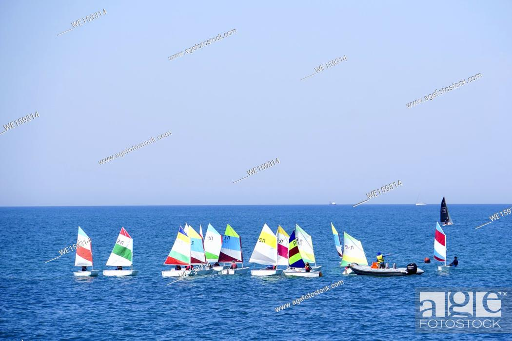 Stock Photo: Sailboats in the Mediterranean Sea off the Tel Aviv Shore.