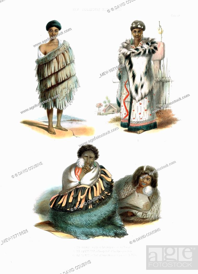 Photo de stock: Te Maro, a boy of Waikato (top left), Te Amotutu, a young chief of the Nga-Ti-Pou tribe (top right), and Ko Tariu, a chief of Taupo.