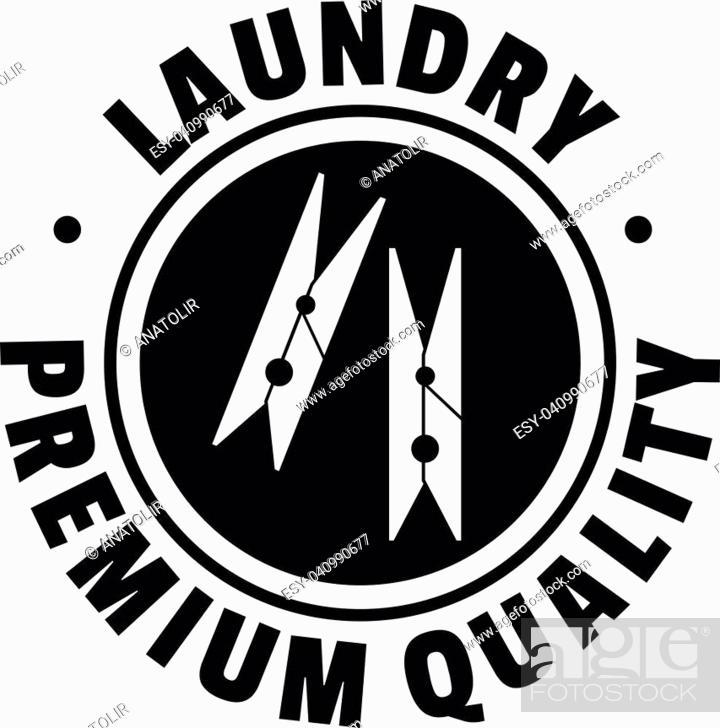 Stock Vector: Laundry premium quality logo. Simple illustration of laundry premium quality vector logo for web design isolated on white background.
