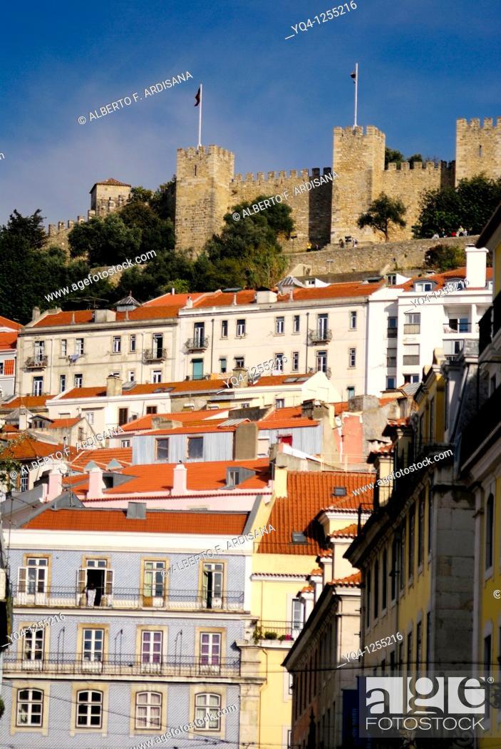 Stock Photo: San Jorge castle seen from the Praça da Figueira, Baixa, Lisbon, Portugal.