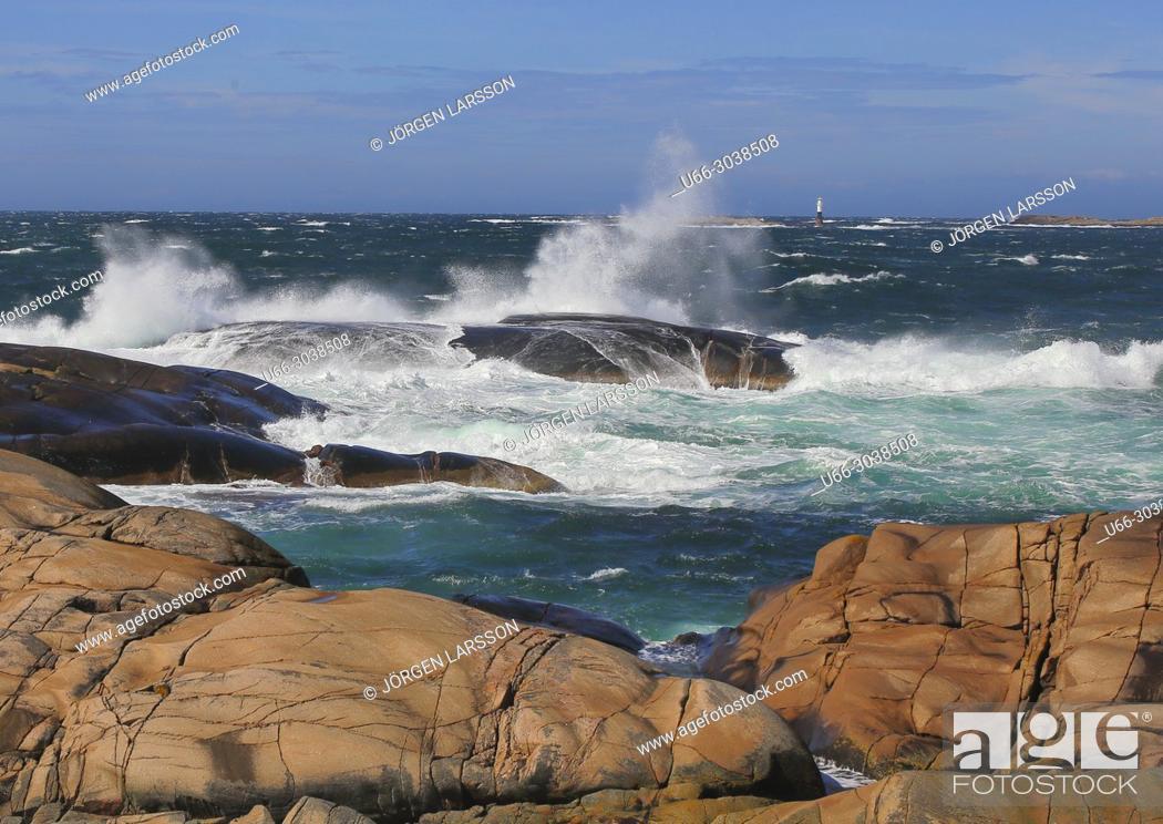 Stock Photo: Lighthouse. Windy coast. Sotenas, Bohuslan, Sweden.