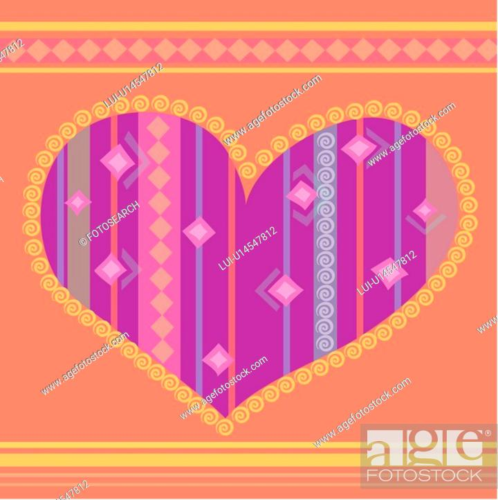 Stock Photo: indoors, wallpaper, repetition, background, heart, design arts, pattern.