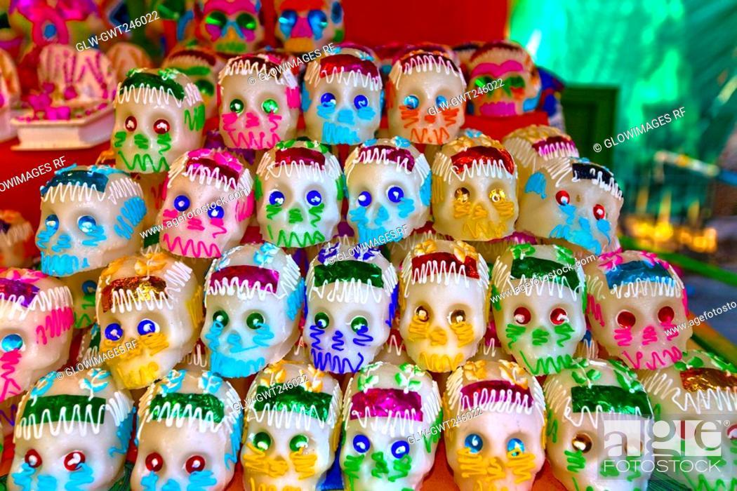 Stock Photo: Masks at a market stall, Xochimilco, Mexico.