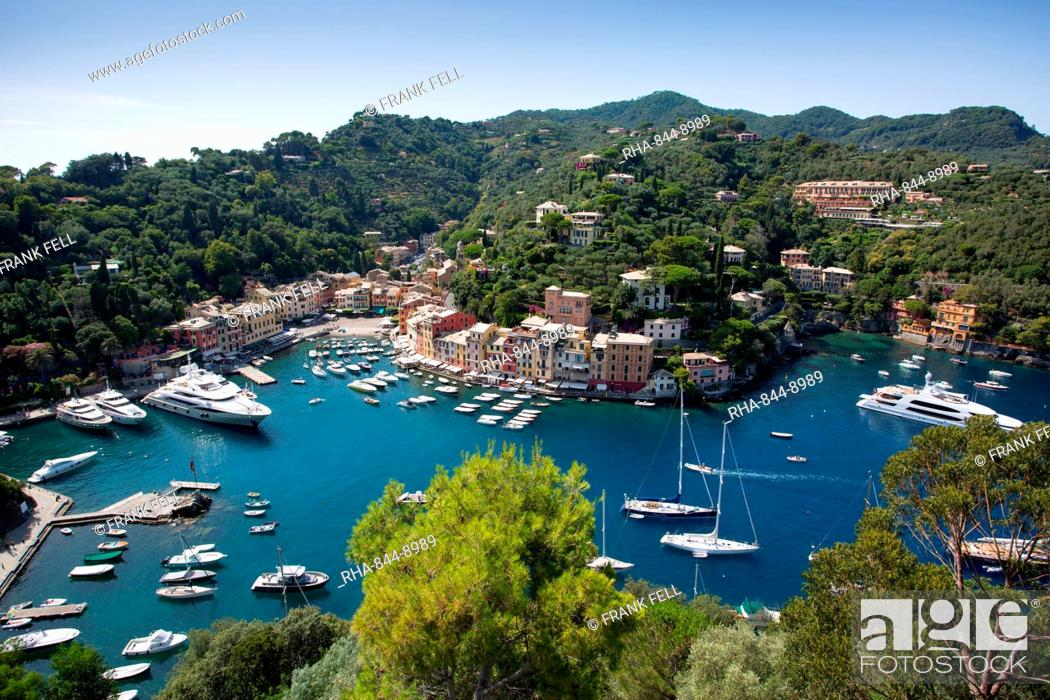 Stock Photo: View of Harbour from Castle, Portofino, Genova (Genoa), Liguria, Italy, Europe.