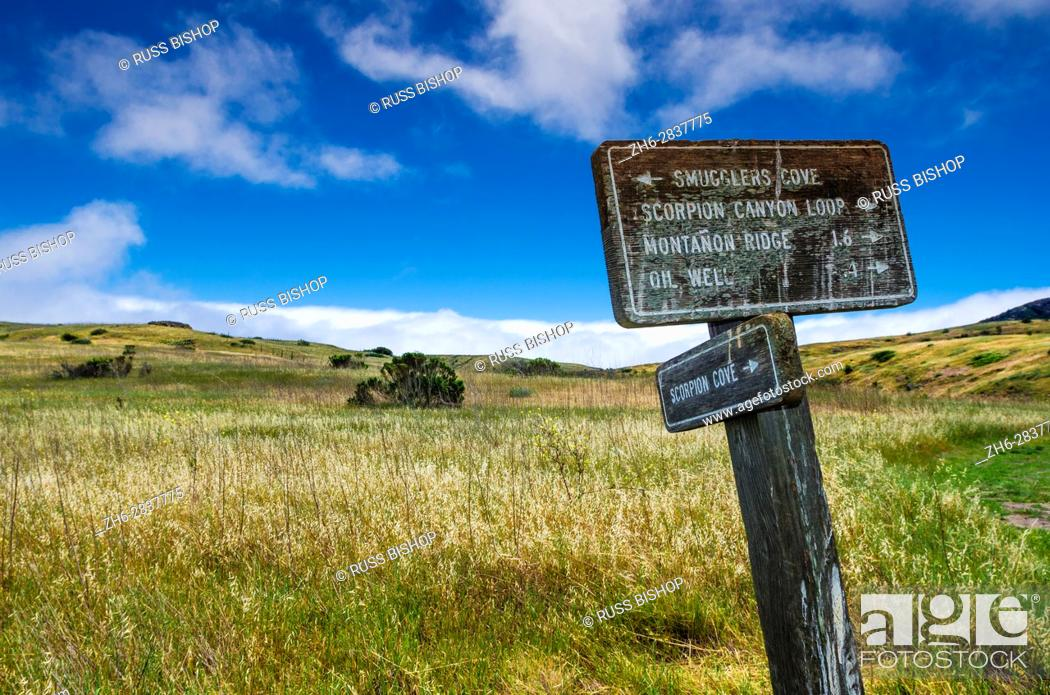 Stock Photo: Trail sign on the Scorpion Canyon Loop Trail, Santa Cruz Island, Channel Islands National Park, California USA.