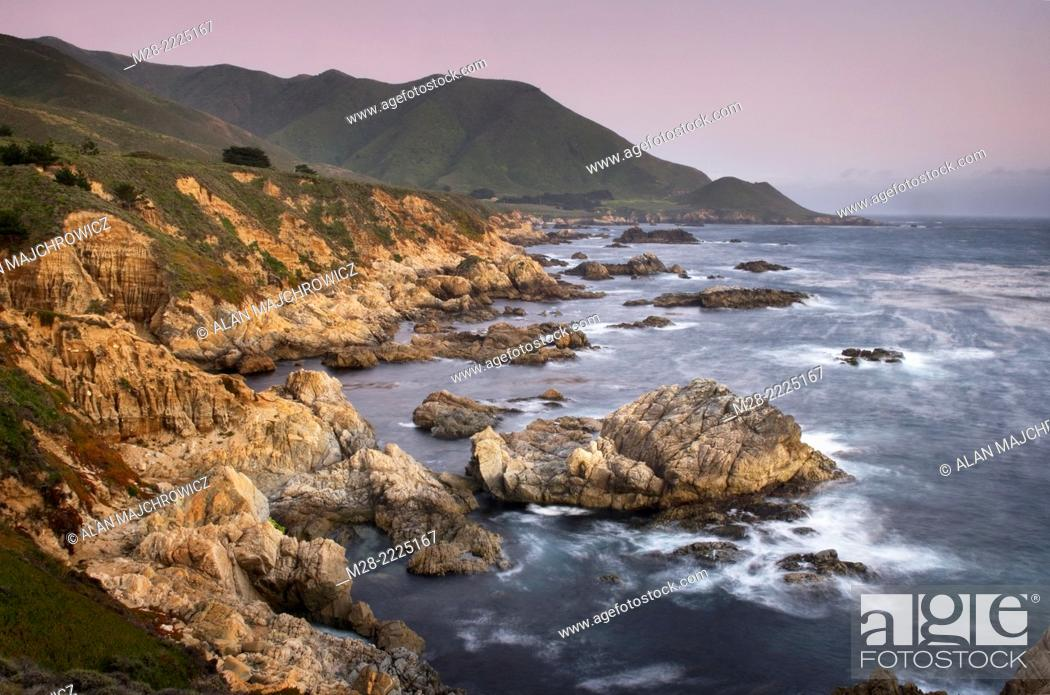 Stock Photo: Sunset over the rugged coast of Big Sur, Garrapata State Park California.