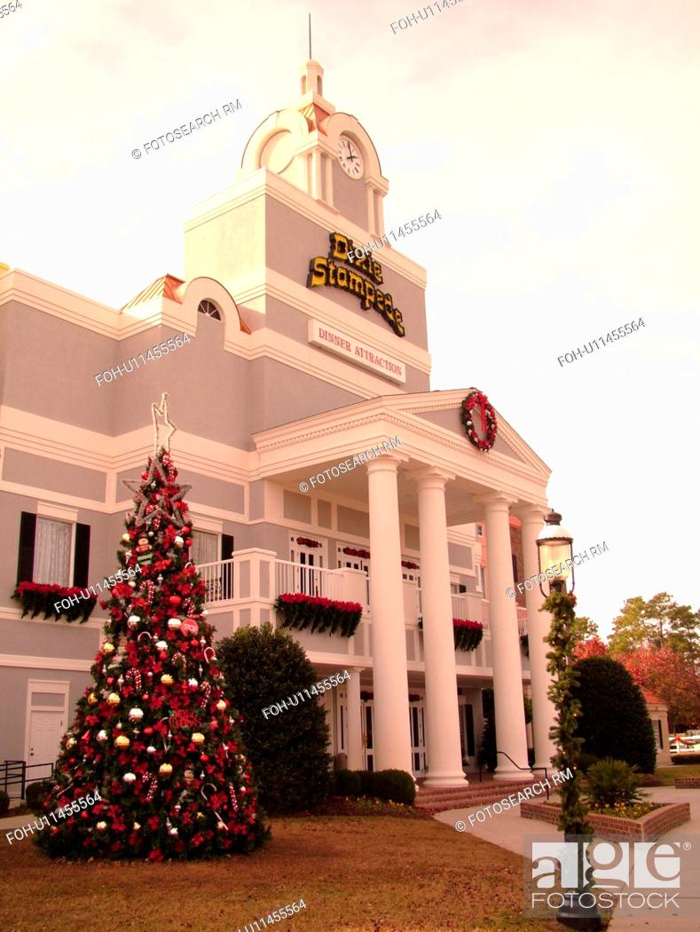 stock photo myrtle beach sc south carolina the grand strand dixie stampede christmas tree decorations